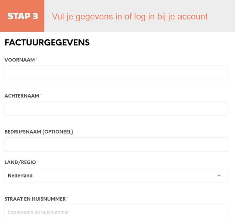Stap 3 Vul je gegevens in of log in bij je account