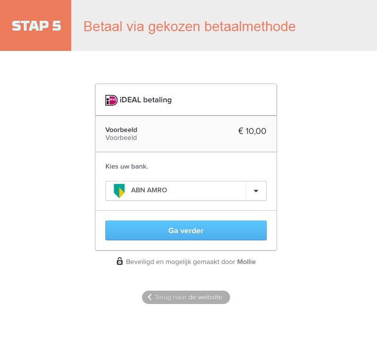 Stap 5 Betaal via gekozen betaalmethode